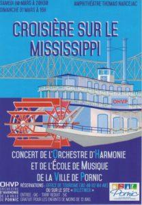 OHVP, 30 et 31 mars 2018. Affiche du concert croisière sur le Mississippi.